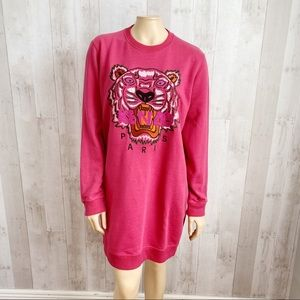 [Kenzo] Fuchsia Tiger Embroidered Sweatshirt Dress